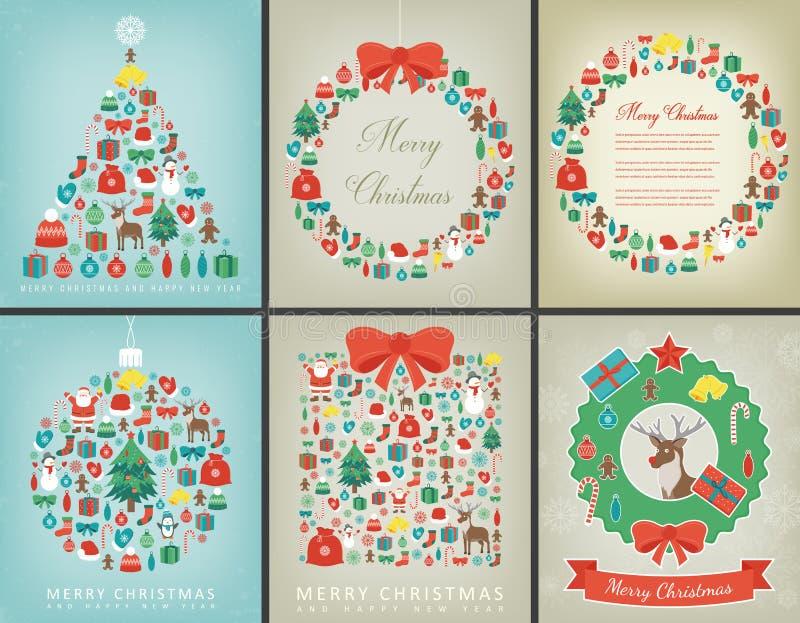 Uppsättning för julhälsningkort med önska för glad jul och för lyckligt nytt år Ferievintersamling vektor royaltyfri illustrationer