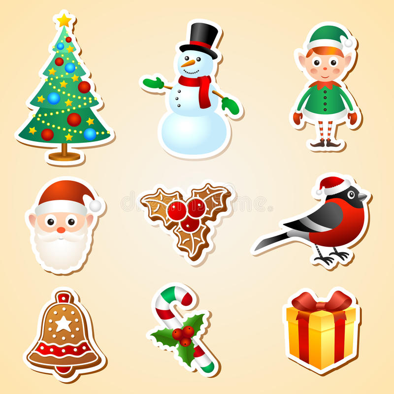 Uppsättning för julsymbolklistermärke vektor illustrationer