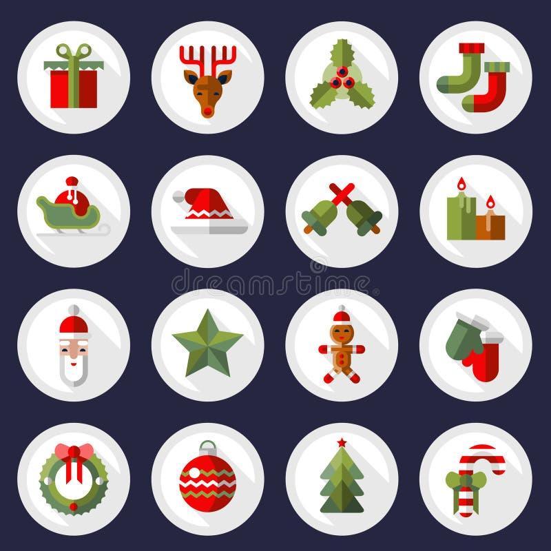 Uppsättning för julsymbolsknappar royaltyfri illustrationer