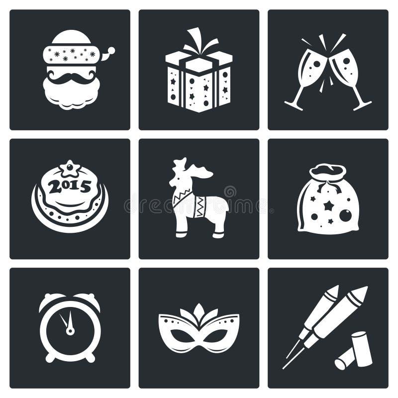 Uppsättning för julvektorsymboler vektor illustrationer