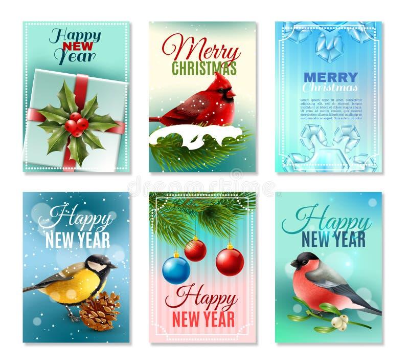 Uppsättning för julvinterkort stock illustrationer
