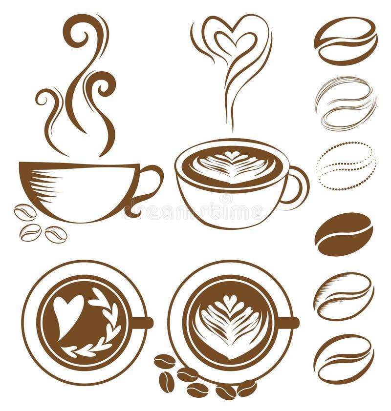 Uppsättning för kaffekopp royaltyfri illustrationer