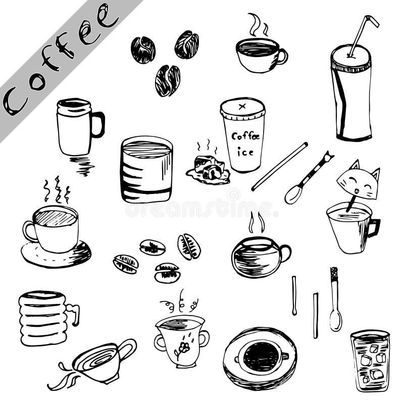 Uppsättning för kaffeteckningsvektor, kaffeillustration på vit bakgrund vektor illustrationer