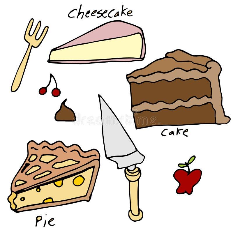 Uppsättning för kaka- och pajefterrättsymbol stock illustrationer
