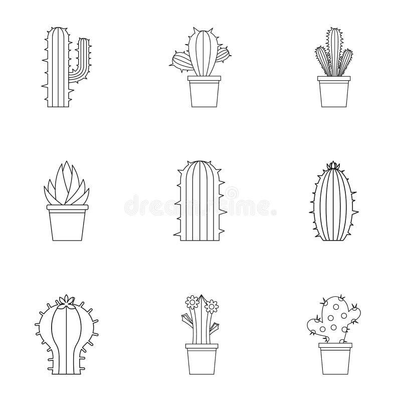 Uppsättning för kaktusväxtsymbol, översiktsstil stock illustrationer