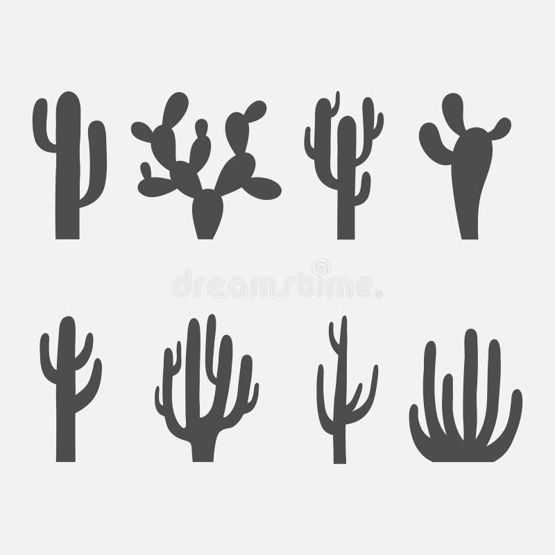 Uppsättning för kaktusvektorsymbol vektor illustrationer