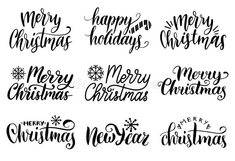 Uppsättning för kalligrafi för glad jul för vektor handskriven Samling av bokstäver för Kristi födelse och för nytt år stock illustrationer
