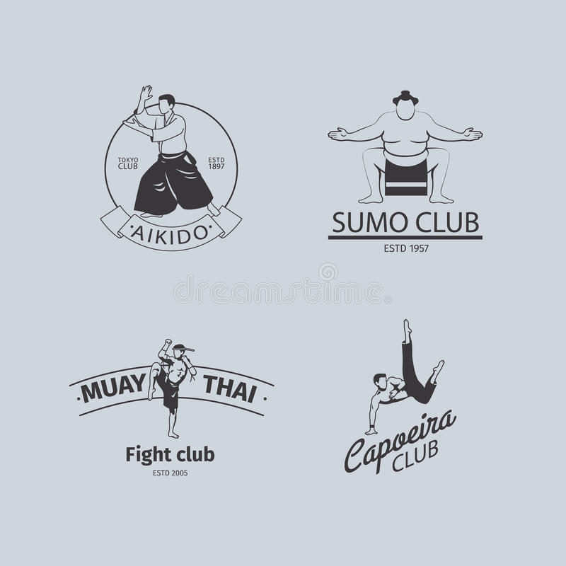 Uppsättning för kampklubbalogo vektor illustrationer