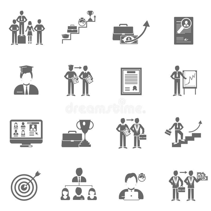 Uppsättning för karriärsymbolssvart stock illustrationer