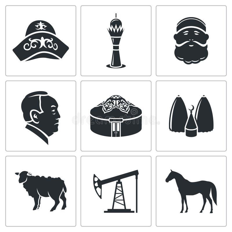 Uppsättning för Kasakhstan vektorsymboler stock illustrationer