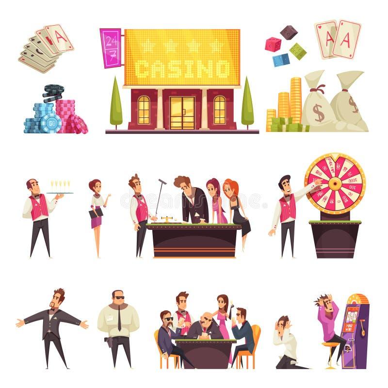 Uppsättning för kasinolivtecken stock illustrationer