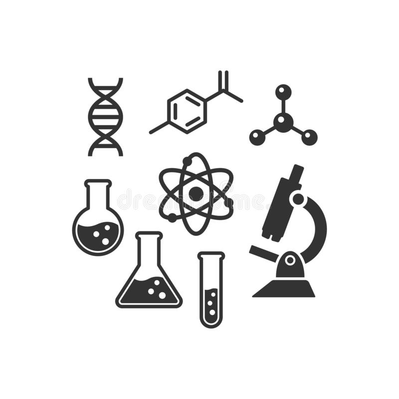 Uppsättning för kemivektorsymbol Svarta isolerade laboratoriumvetenskapssymboler royaltyfri illustrationer