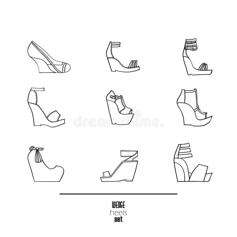 Uppsättning för kilhäl och sandal Vektorillustration, hand som dras med svart färgpulver och isoleras på vit bakgrund Modeuppsätt vektor illustrationer
