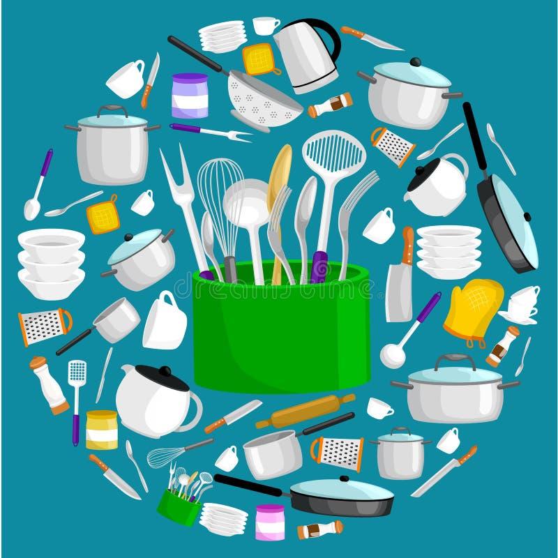Uppsättning för Kitchenwaresymbolsvektor Bestick för stålkökhushåll som lagar mat utrustning royaltyfri illustrationer