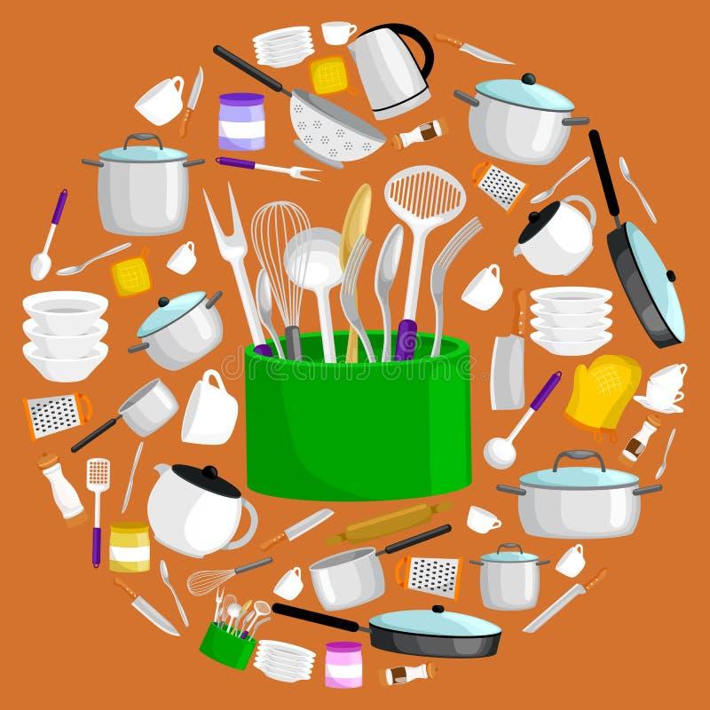 Uppsättning för Kitchenwaresymbolsvektor Bestick för stålkökhushåll som lagar mat utrustning stock illustrationer