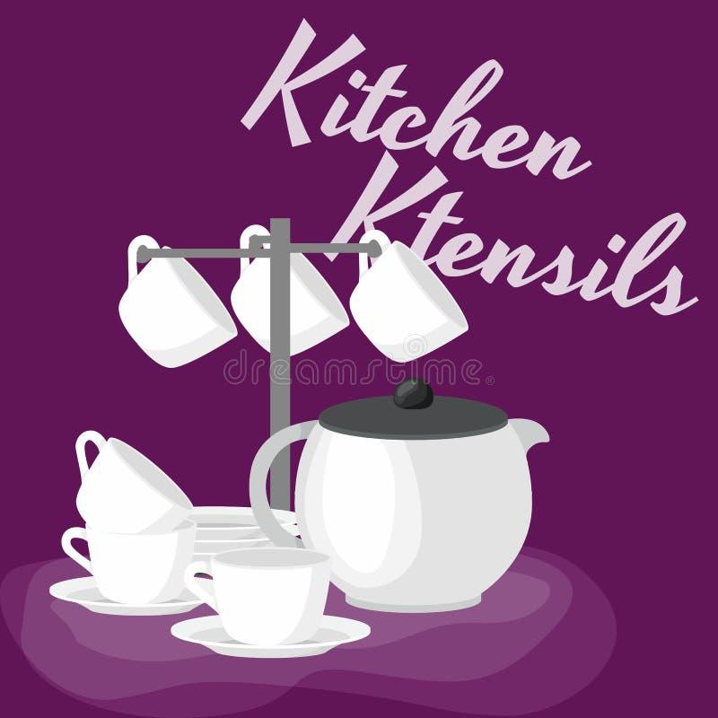 Uppsättning för Kitchenwaresymbolsvektor Samling för tecknad filmkökredskap för kökhushållbestick som lagar mat utrustning stock illustrationer