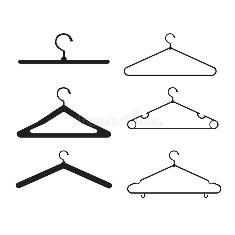 Uppsättning för klädhängarevektorsymbol royaltyfri illustrationer