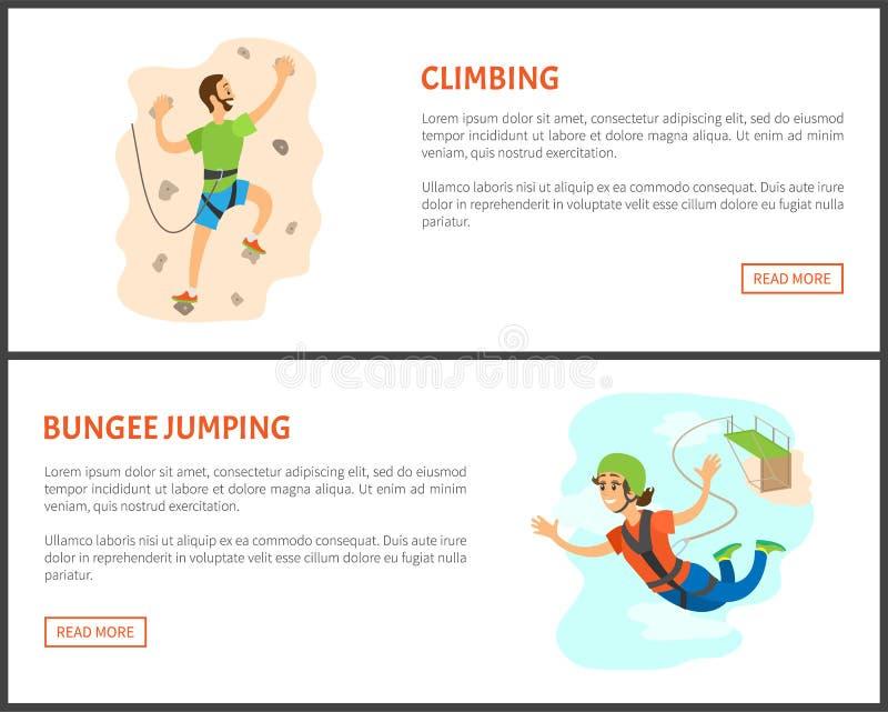 Uppsättning för för klättring- och Bungeebanhoppningman och kvinna vektor illustrationer