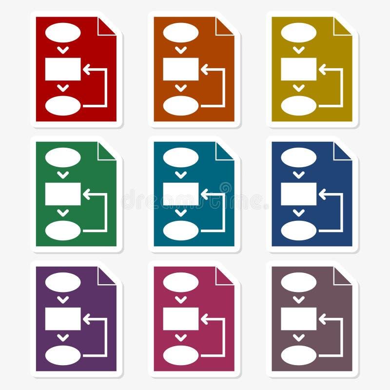 Uppsättning för klistermärke för affärsplan stock illustrationer