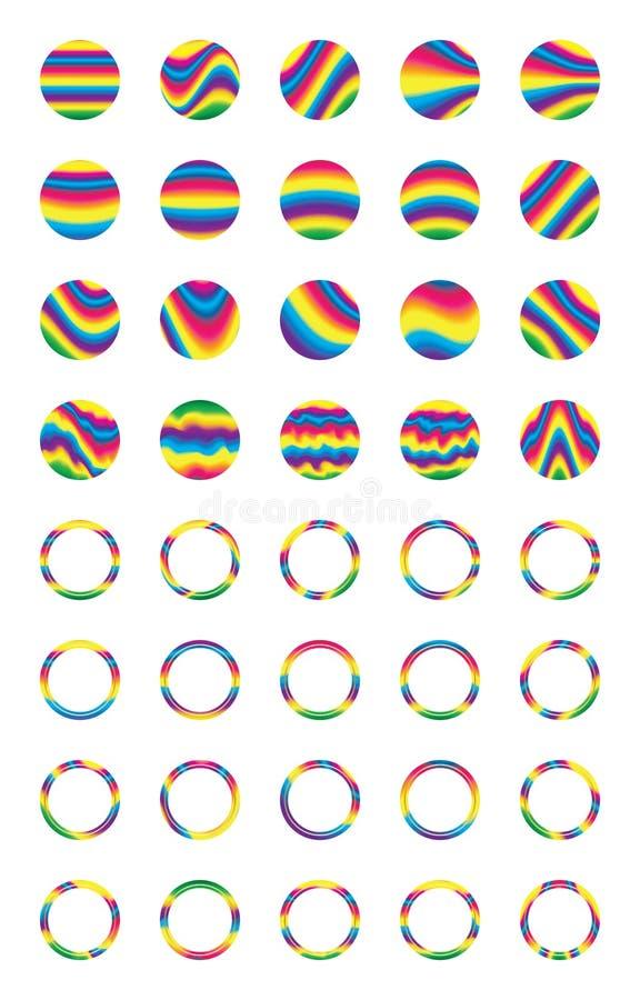 Uppsättning för klistermärke för cirkel för vågstil färgrik royaltyfri illustrationer