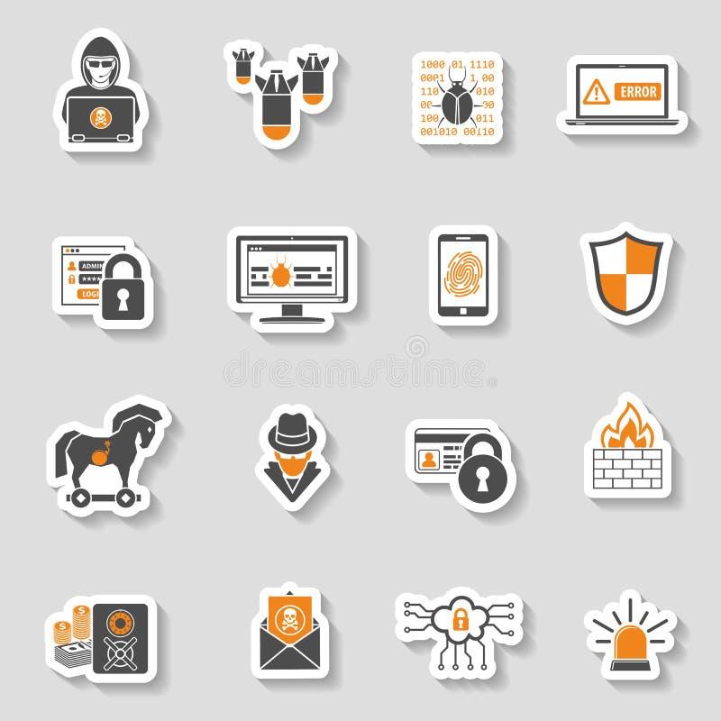 Uppsättning för klistermärke för internetsäkerhetssymbol vektor illustrationer