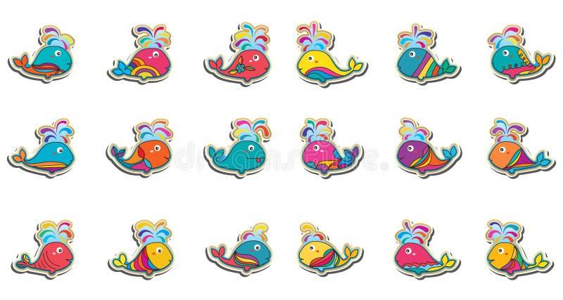 Uppsättning för klistermärke för valmakeupfisk färgrik royaltyfri illustrationer