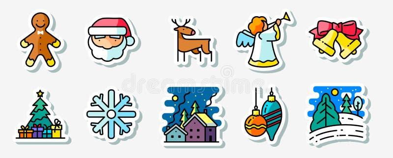 Uppsättning för klistermärkear för symboler för vinterjulferier vektor illustrationer