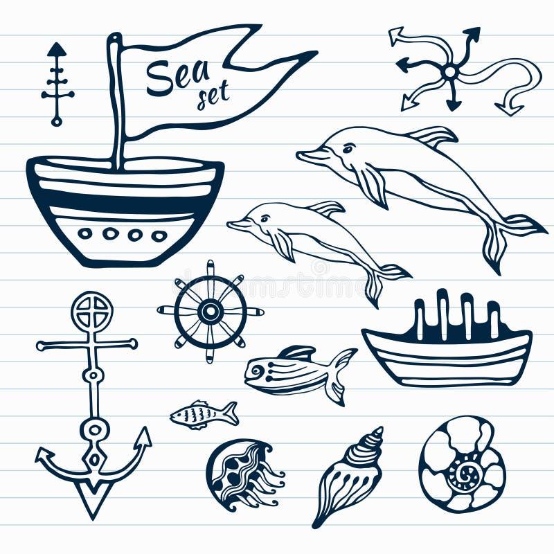 Uppsättning för klotter för havsliv hand dragen Nautiskt skissa samlingen med skeppet, delfin, skal, fiskankaren och rodern stock illustrationer