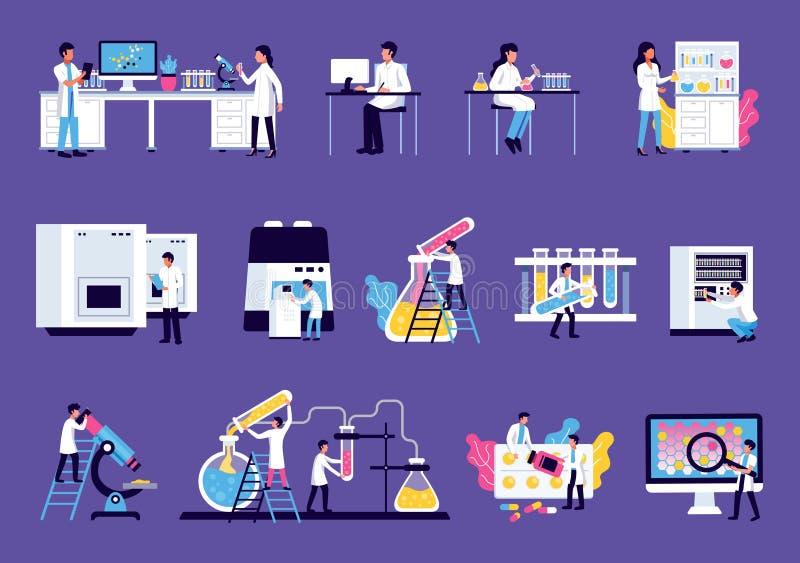 Uppsättning för klotter för laboratoriumutrustning vektor illustrationer