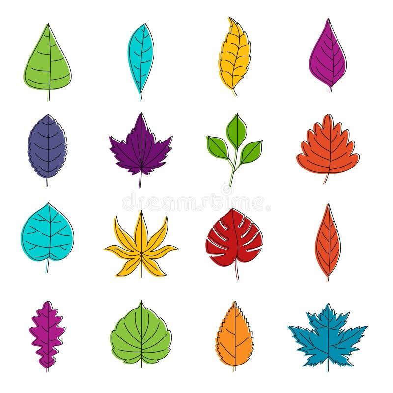 Uppsättning för klotter för växtbladsymboler vektor illustrationer