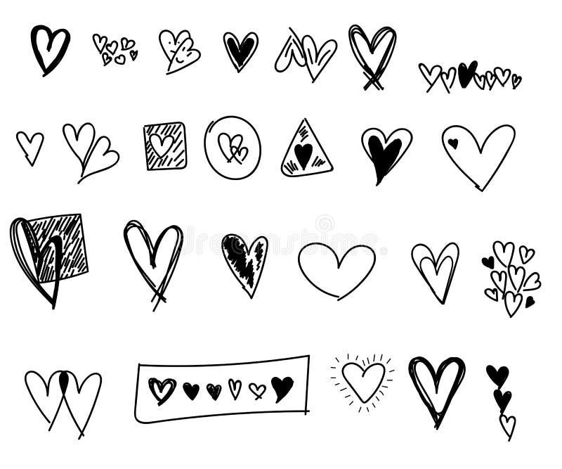 Uppsättning för klotter för valentindaghjärtor vektor illustrationer