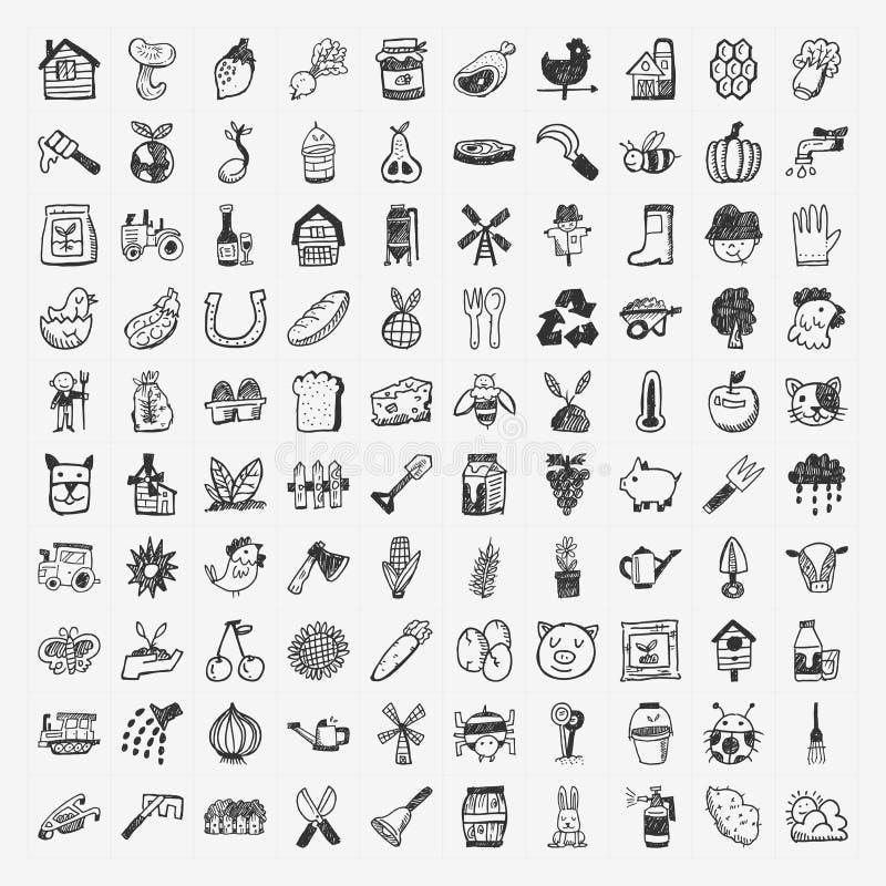Uppsättning för klotterlantbruksymbol royaltyfri illustrationer
