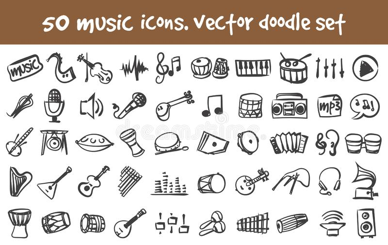 Uppsättning för klottermusiksymboler vektor illustrationer