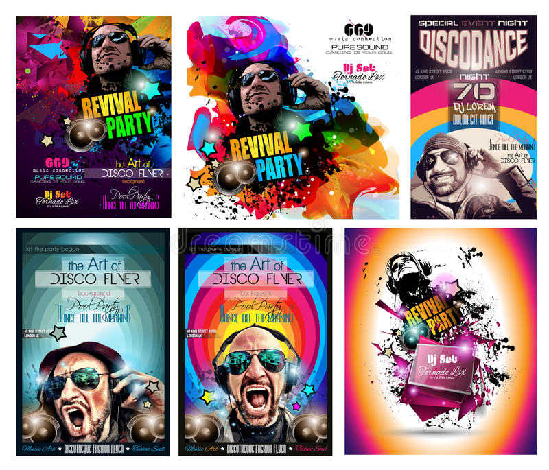 Uppsättning för klubbadiskoreklamblad med discjockeyform och färgrika Scalable bakgrunder stock illustrationer