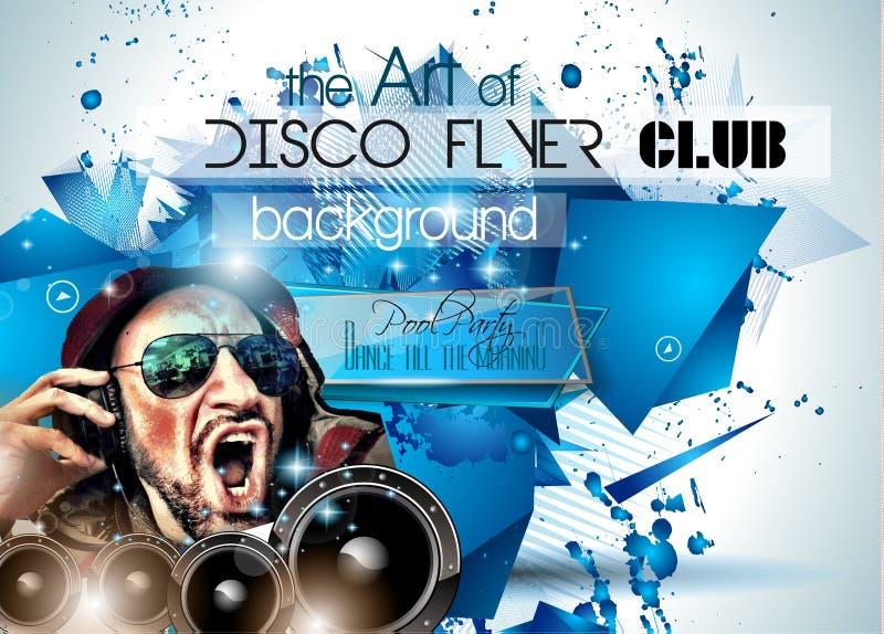 Uppsättning för klubbadiskoreklamblad med DJs och färgrika bakgrunder stock illustrationer