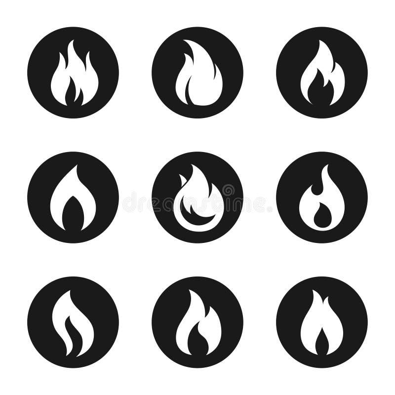 Uppsättning för knapp för brandflammasymbol vektor illustrationer