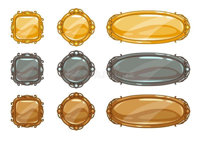 Uppsättning för knappar för tecknad filmvektor metallisk vektor illustrationer