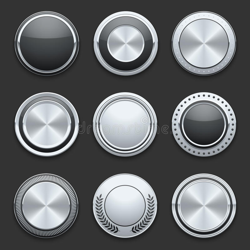 Uppsättning för knappar för vektor för silvermetallkrom vektor illustrationer