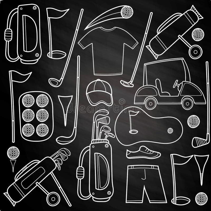 Uppsättning för kolgolfsymboler i tecknad filmstil royaltyfri illustrationer