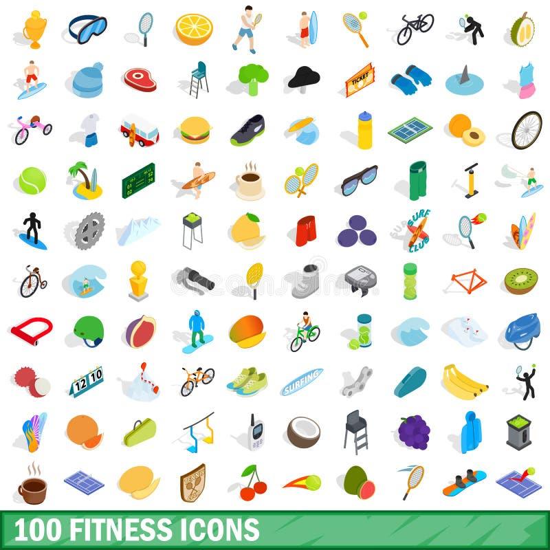 uppsättning för 100 konditionsymboler, isometrisk stil 3d stock illustrationer