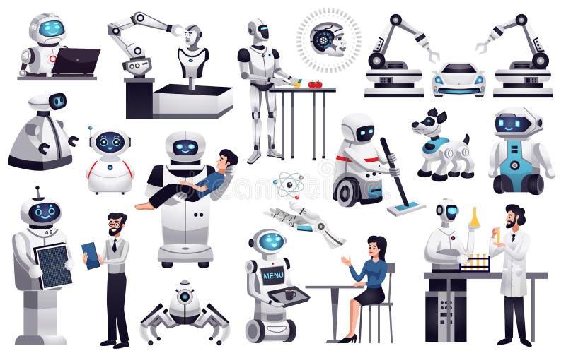 Uppsättning för konstgjord intelligens för robotar stock illustrationer