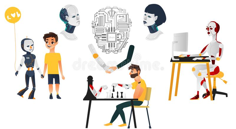Uppsättning för konstgjord intelligens - robotar, androider, cyborgs vektor illustrationer