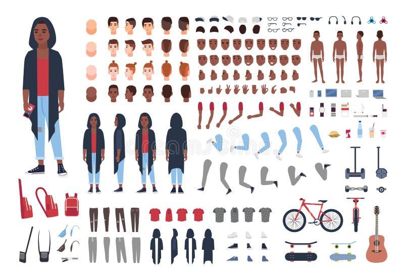 Uppsättning för konstruktör eller för animering för tonårs- pojke för afrikansk amerikan Packe av tonåringen eller tonåriga kropp royaltyfri illustrationer