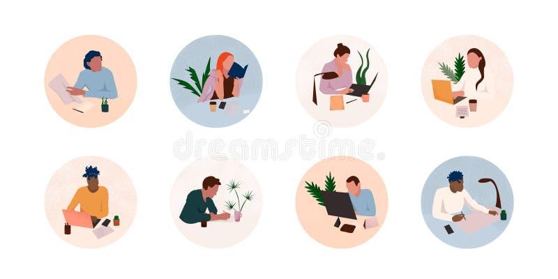 Upps?ttning f?r kontorsarbetsplatssymbol royaltyfri illustrationer