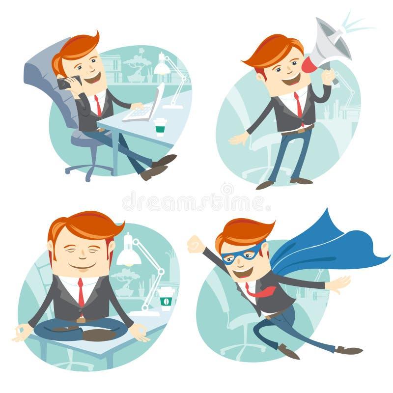 Uppsättning för kontorsmanhipster: flyga den toppna mannen som bär den blåa regnrocken royaltyfri illustrationer