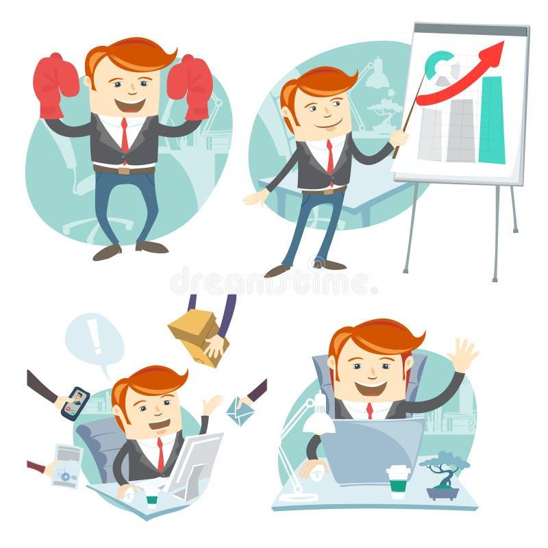 Uppsättning för kontorsmanhipster: uppvisning av en presentation, lycklig arbetare på stock illustrationer