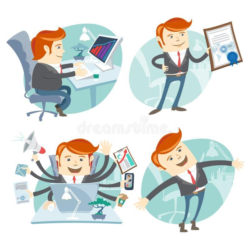 Uppsättning för kontorsmanhipster: uppvisning av ett diplom, lycklig arbetare, upptagen wh vektor illustrationer