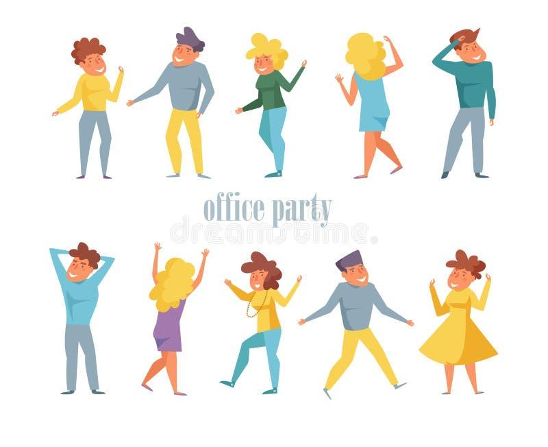 Uppsättning för kontorsparti med dansfolkvektorn cartoon Isolerad konstlägenhet royaltyfri illustrationer