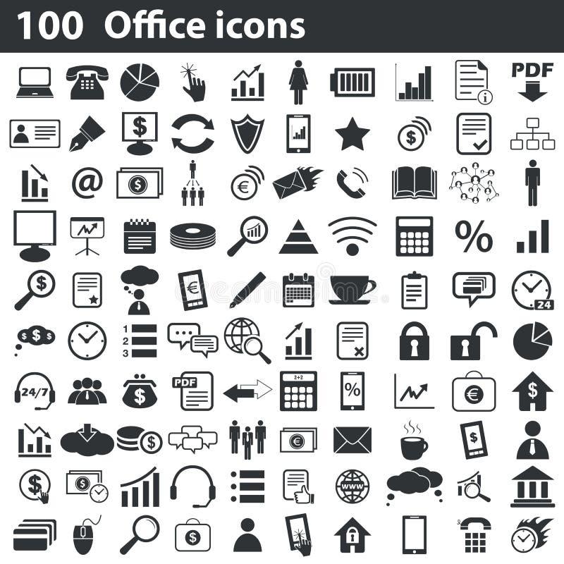 uppsättning för 100 kontorssymboler stock illustrationer