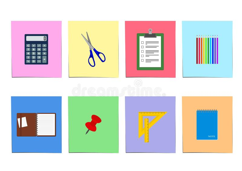 Uppsättning för kontorstillförsel: anteckningsbok skrivplattaräknemaskin och mer stock illustrationer